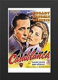 Casablanca Movie Art Print — Movie Memorabilia — 11x17 Poster FRAMED, Vibrant Color, Features Humphrey Bogart, Ingrid Bergman, and Paul Henreid, Claude Rains, Conrad Veidt, Sydney Greenstreet, Peter Lorre.