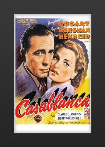 Bergman Movie Poster - Casablanca Movie Art Print — Movie Memorabilia — 11x17 Poster FRAMED, Vibrant Color, Features Humphrey Bogart, Ingrid Bergman, and Paul Henreid, Claude Rains, Conrad Veidt, Sydney Greenstreet, Peter Lorre.