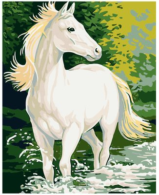 JynXos Wooden Framed Paint By Number Horses Linen Canvas DIY Painting - White Horse