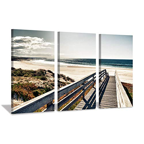 - Beach Picture Pier Wall Art: Seascape Artwork Boardwalk to Ocean Painting on Canvas for Living Room (26'' x 16'' x 3 Panels)