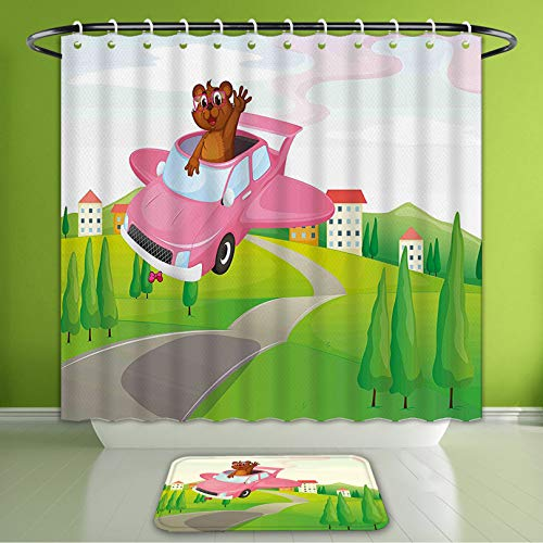 (Waterproof Shower Curtain and Bath Rug Set Cartoon Illustration of Funny Otter in Car On The Road Flying Green Land with Houses Hills Mult Bath Curtain and Doormat Suit for Bathroom 72