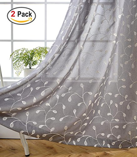 Miuco Floral Embroidery Semi Sheer Curtains Faux Linen Grommet Curtains for Bedroom 52 x 63 Inch 2 Panels, Grey