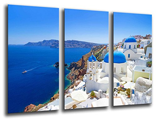 Cuadros Camara Multi Wood Printings Art Print Box Framed Picture Wall Hanging - (Total Size: 38 x 24.4 in), Landscape Santorini, Greece - Framed and Ready to Hang - ref. ()