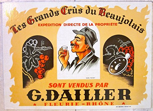 - VINTAGE 1950 FRENCH LIQUOR POSTER - LES GRANDS CRUS DU BEAUJOLAIS - COOL ARTWORK