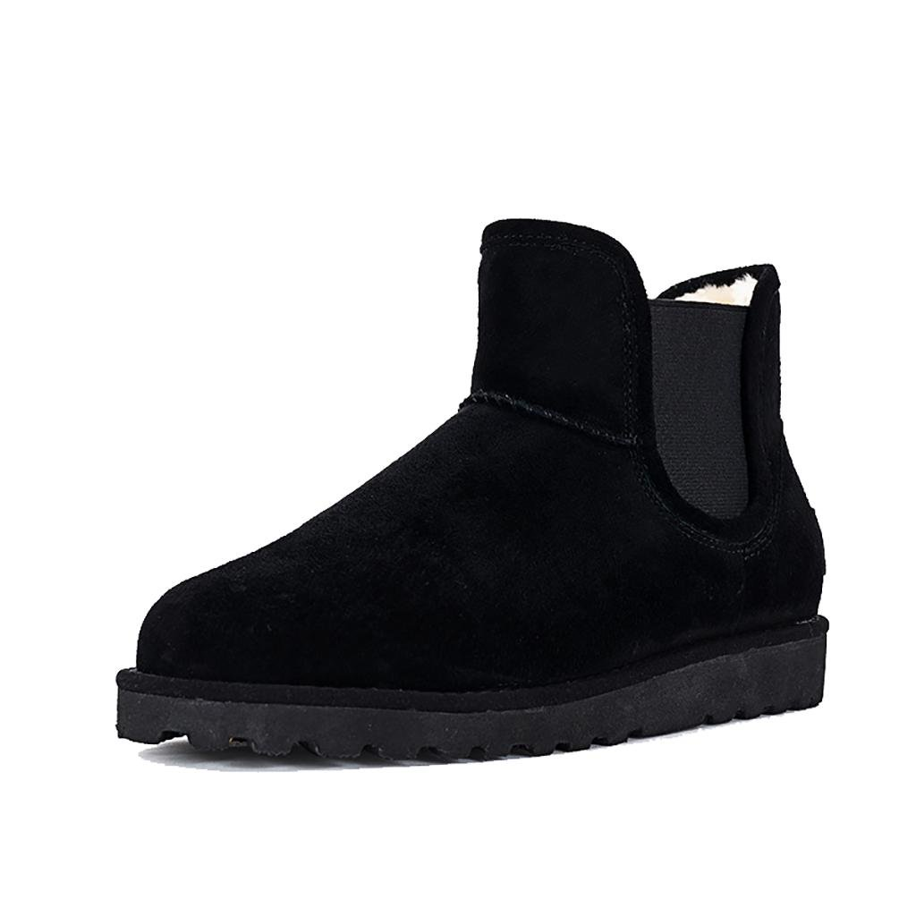Black LIUshoes L&L Autumn and Winter Boots Female Flat Round Head Ankle Boots Flat Snow Boots