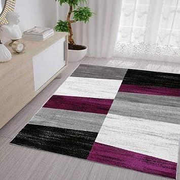 Wohnzimmer Teppich Modern Geometrisches Muster Meliert In Lila Grau