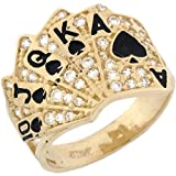 14k Real Solid Gold CZ Royal Flush Poker Card Enamel Lucky Unisex Ring
