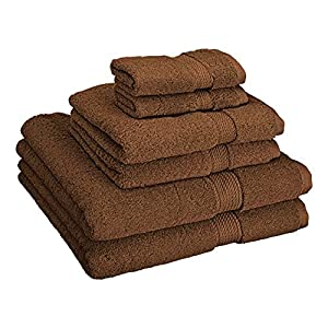 Superior 900 GSM Luxury Bathroom 6-Piece Towel Set, Made of 100% Premium Long-Staple Combed Cotton, 2 Hotel & Spa Quality Washcloths, 2 Hand Towels, and 2 Bath Towels - Chocolate