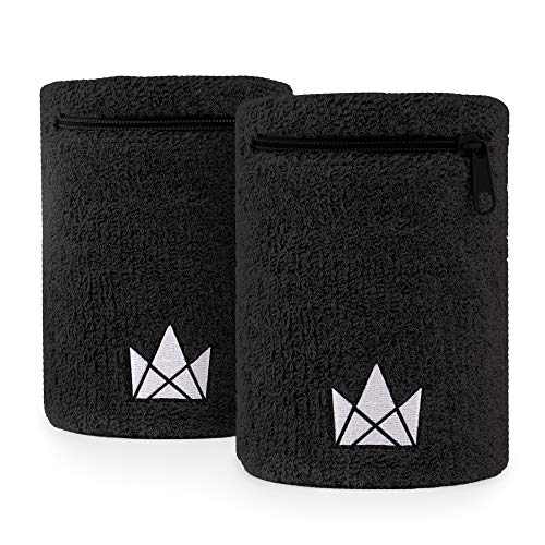 The Friendly Swede Zipper Sweatband Wristband Pocket, Wrist/Ankle Wallet for Jogging, Sports, Walking (2 Pack)