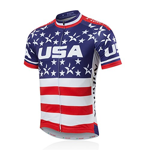 Xinzechen Men's Outdoor Sports Breathable Short Sleeve Cycling Jersey USA Flag Size XL