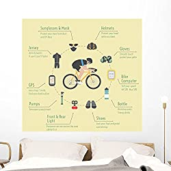 Cyclist Wall Mural by Wallmonkeys Peel and Stick Graphic (48 in H x 48 in W) WM367486