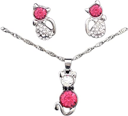 Necklace Durable and Useful Faux Gemstone Rhinestone Pendant Necklace Stud Earrings Jewelry Gift