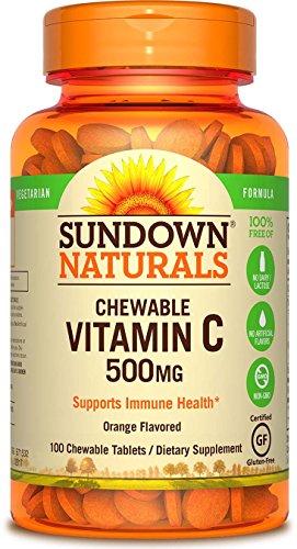 Orange Flavor 100 Tabs (Sundown NaturalsVitamin C 500 mg Orange w/ Rose Hips, 100 Chewable Tablets (Pack of 3))