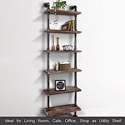 iKayaa 6 Tier Rustic Industrial Ladder Wall Shelves W/ Wood Planks DIY Iron Pipe Standing Bookshelf Utility Storage Rack