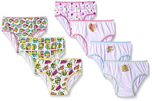 Nickelodeon Big Girls' Ninja Turtle Girls, Assorted, 4 (Pack of 7) (Girls Underwear Nickelodeon)