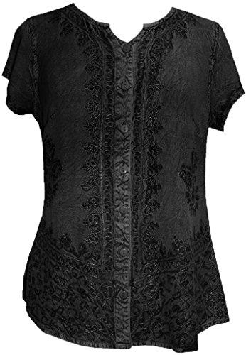 144 B Gypsy Medieval Bohemian Top Shirt Blouse [Black; - Clothing Blouse India