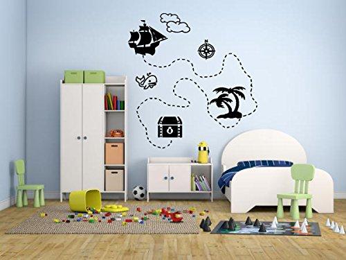 (Wall Decal Sticker Bedroom Pirate Map Treasure Gold Island Cartoon Kids Girls Boys Teenager Room 691b)