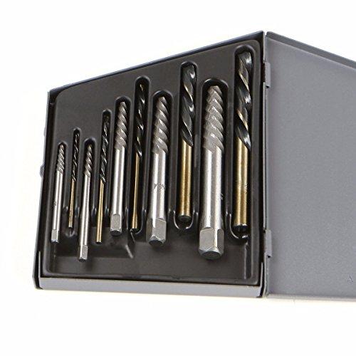 Spiral Flute Screw Extractors Cobalt Drill Bits Set 10pc #1 To #5 Metal Tools ()