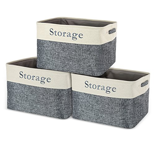 Collapsible Storage Bins Baskets,Foldable Canvas Storage Cubes Box Containers,Shelf Closet Organizer for Nursery Toys,Kids Room,Home Office with Handles Beige Grey 3 Pack Large(15.35