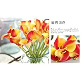 Honeyhome 20pcs Mini Calla Lily Orange Artificial Flower Bride Wedding Bouquet Real Touch For Wedding Christmas Home Decorition
