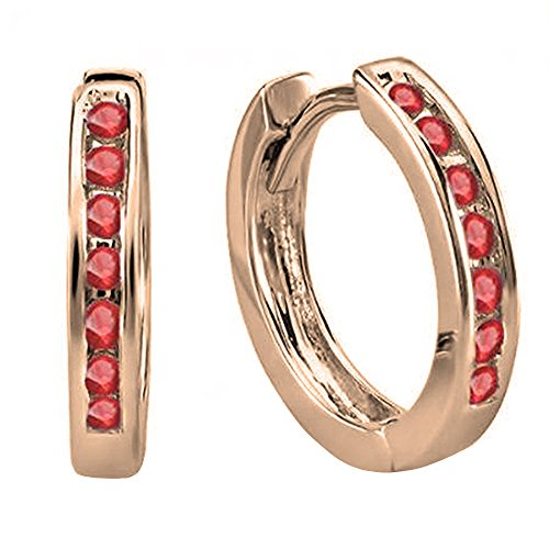 Dazzlingrock Collection 14K Small Round Ruby Huggie Hoop Earrings, Rose Gold