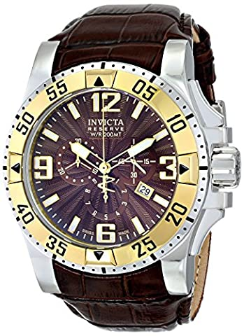 Invicta Men's 10906 Excursion Reserve Chronograph Brown Textured Dial Brown Leather Watch (Invicta Reserve Excursion Gold)