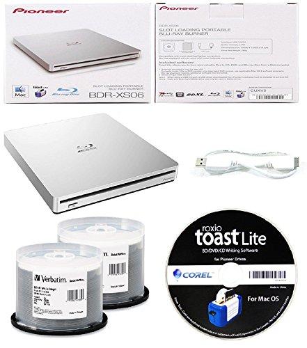 Pioneer 6x BDR-XS06 Slim Slot Portable External Blu-ray BDXL Burner, Roxio Toast Lite Software and USB Cable Bundle with 100pk BD-R Verbatim 25GB 6X DataLifePlus White Inkjet, Hub Printable by Produplicator