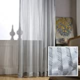 Grey Sheer Curtains for Bedroom – KoTing 1 Panel Hollow Out Gray Voile Sheer Drapes Grommet 100 inch Long For Sale
