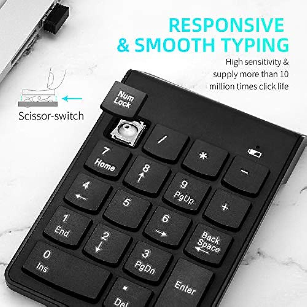 Surface Pro Notebook Wireless Numeric Keypad 18Keys Portable Number pad Slim Numpad with 2.4G Mini USB Receiver for Laptop Desktop PC