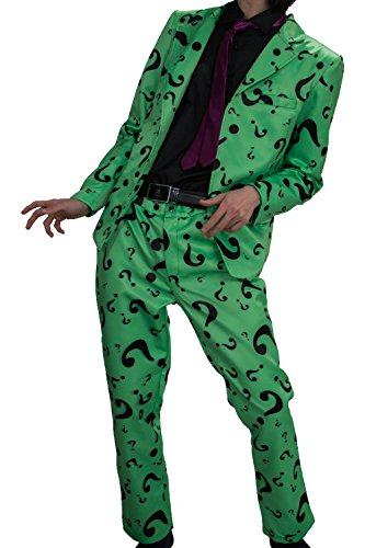XCOSER Mens Question Mark Costume Suit for Halloween Villain Cosplay (Halloween Costumes The Riddler)