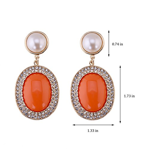 KAYMEN Golden Full Rhinestones Pearls Resin Fashion Drop Dangle Earrings For Women