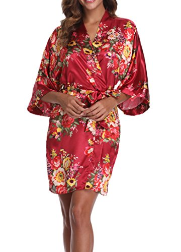 1stmall Floral Satin Kimono Short Style Bridesmaids Robes for Women, Red Wine S