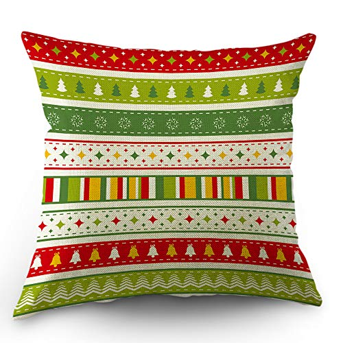 Moslion Striped Pillow Cover Christmas Tree Bells Star Snowflake Stripes Throw Pillow Case 18x18 Inch Cotton Linen Decorative Square Cushion Cover for Easter Sofa Bed Green Red