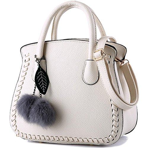 Handbags Shoulder Ladies' Simple Strap Autumn PU Fashion Leather L004FR for Trend Blanc of Women Bag with Env1vqrWO