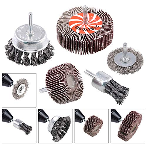 - Swpeet 5Pcs Crimped Wire Wheel Brush & Wire Cup Brush Set with 1/4-Inch Shank, 5 Sizes Drill Accessory Kit Perfect For Removal of Rust/Corrosion/Paint - Reduced Wire Breakage and Longer Life