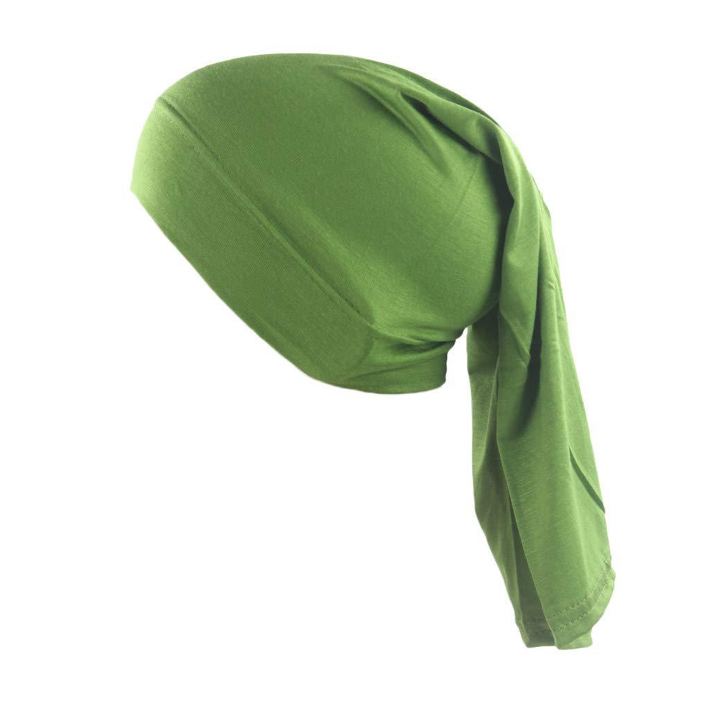 Womens Muslim Islamic Solid Color Cotton Hijab Cap Head Under Scarf Shawl Turban Elastic Tie Back Headscarf Green