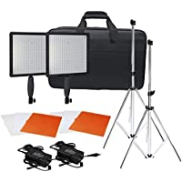 Neewer CN-576 576PCS LED Dimmable Ultra High Power Panel Digital Camera / Camcorder Video Light Kit, including (2)CN-576 LED Video Light, (2)Adapter, (2)Light Tripod, (2)Filter Kits(Orange, White, Transparent), (1)Light Bag