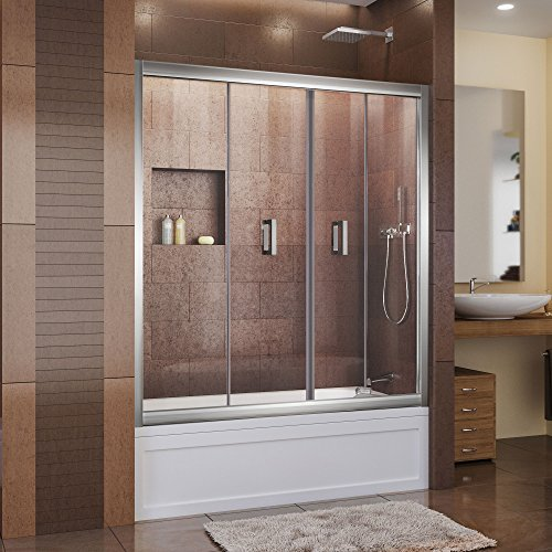 DreamLine Butterfly 57 1/2-59 in. Width, Frameless Bi-Fold Tub Door, 1/4'' Glass, Chrome Finish by DreamLine
