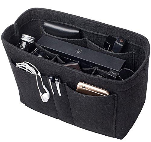 3MM Wool Blended Felt Bag In Bag Organizer for Handbag Purse Organizer, Tote Insert (Mm Black Handbag)