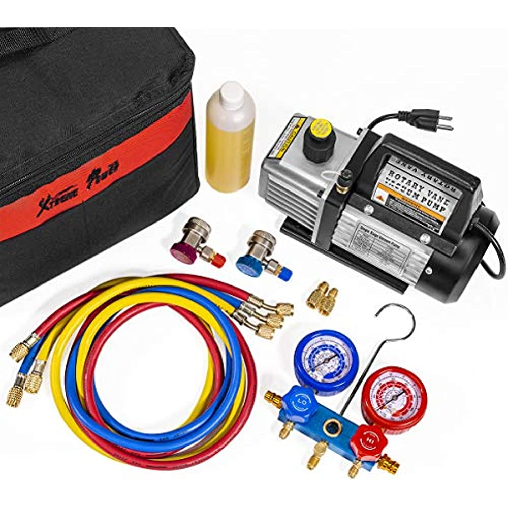XtremepowerUS 3CFM 1//4HP Air Vacuum Pump HVAC A//C Refrigeration Kit AC Manifold Gauge Set