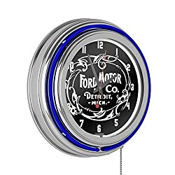 Trademark Gameroom Ford Chrome Double Rung Neon Clock - Vintage 1903 Ford Motor Co.