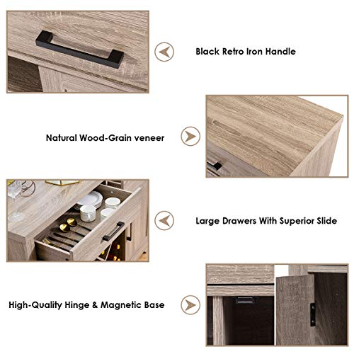 Giantex Buffet Cabinet Sideboard with Two Drawers Two Cabinets One Shelf and 4 Bottle Wine Rack Dining Room Home Furniture Console Storage Cabinet, Natural by Giantex (Image #4)
