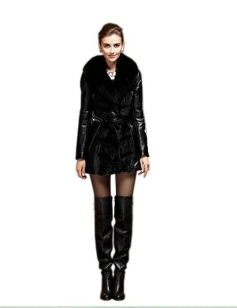 Queenshiny mujer piel de oveja y visón Abrigo de piel con cuello de fox Negro negro X-Small: Amazon.es: Ropa y accesorios