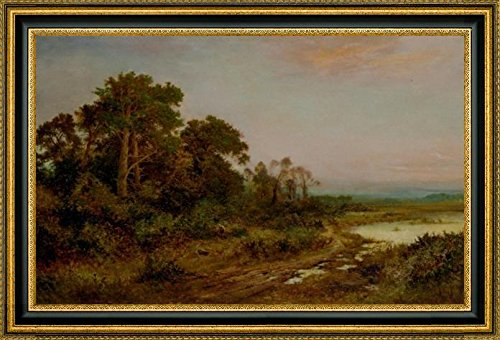 a-wooded-landscape-with-a-lake-by-daniel-sherrin-15-x-22-framed-canvas-art-print-ready-to-hang