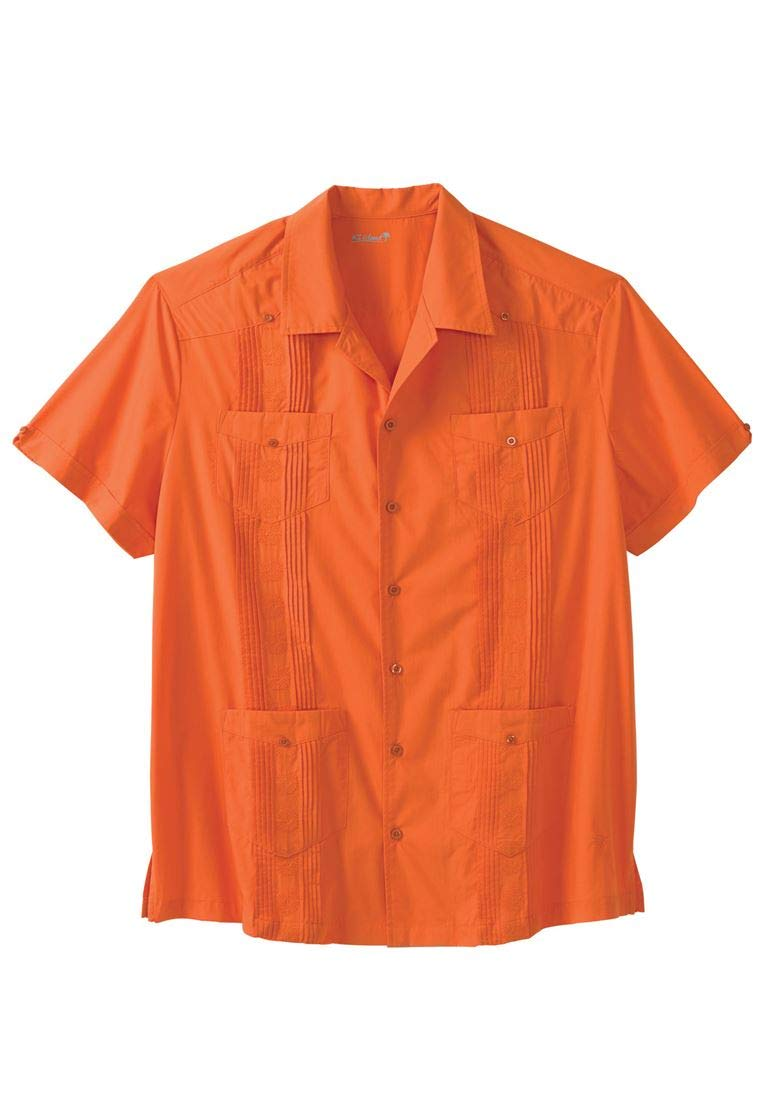 Ks Island Men's Big & Tall Short-Sleeve Guayabera Shirt, Tequila Sunrise