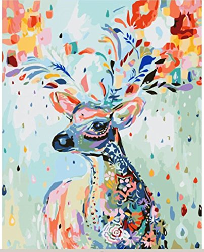 129c3e71 [Framless] Diy Oil Painting Paint by Number Kit for Adult Kids - Painted  Deer 16X20 Inch