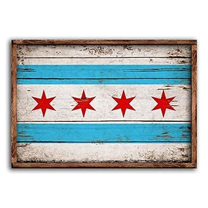 Amazoncom 53x33cm Unframed Chicago Wood Flag Flags Rustic Windy