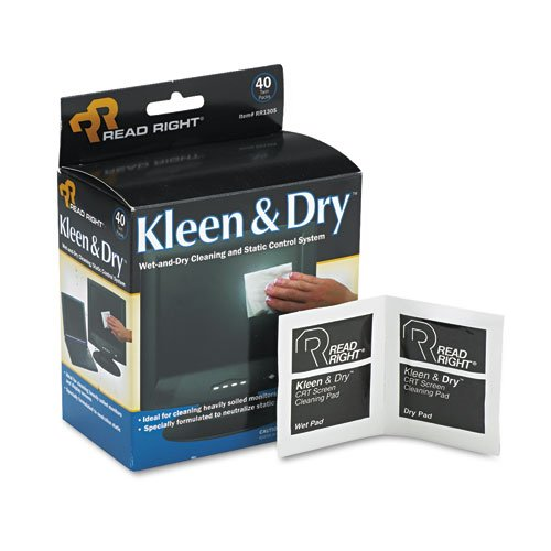 Kleen & Dry Screen Cleaner Wet Wipes, Cloth, 5 x 5, 40/Box by Read Right