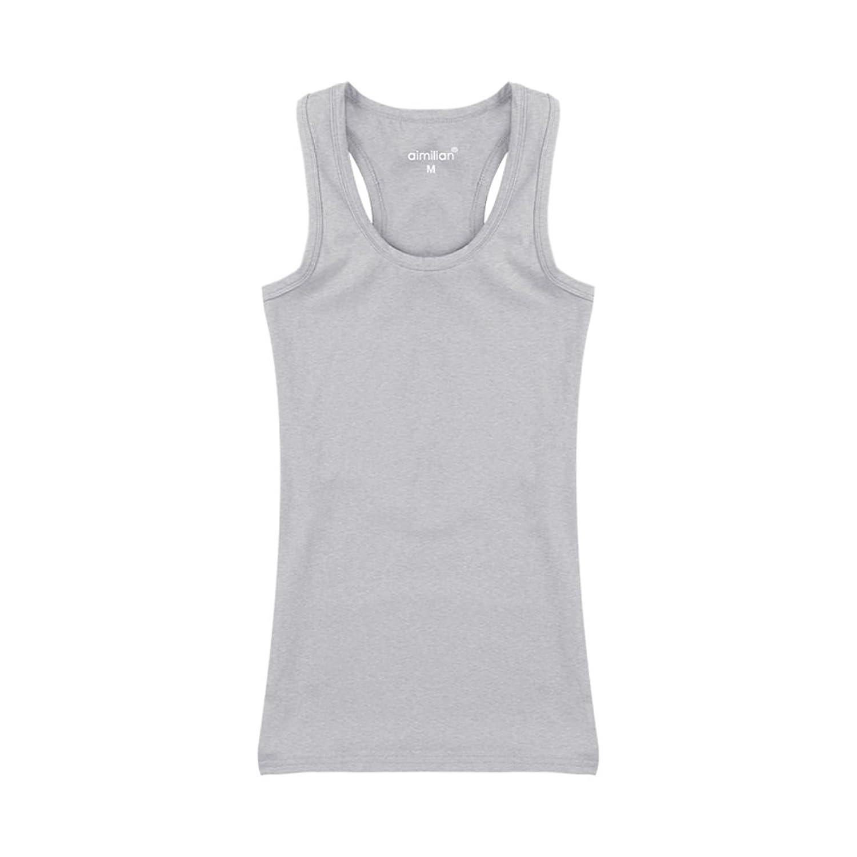VOGUE CODE Women Solid Round Neck Sport Tank Top Activewear I-shaped Vest