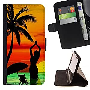 For LG OPTIMUS L90 Palm Tree Beach Sunset Yoga Woman Sea Style PU Leather Case Wallet Flip Stand Flap Closure Cover